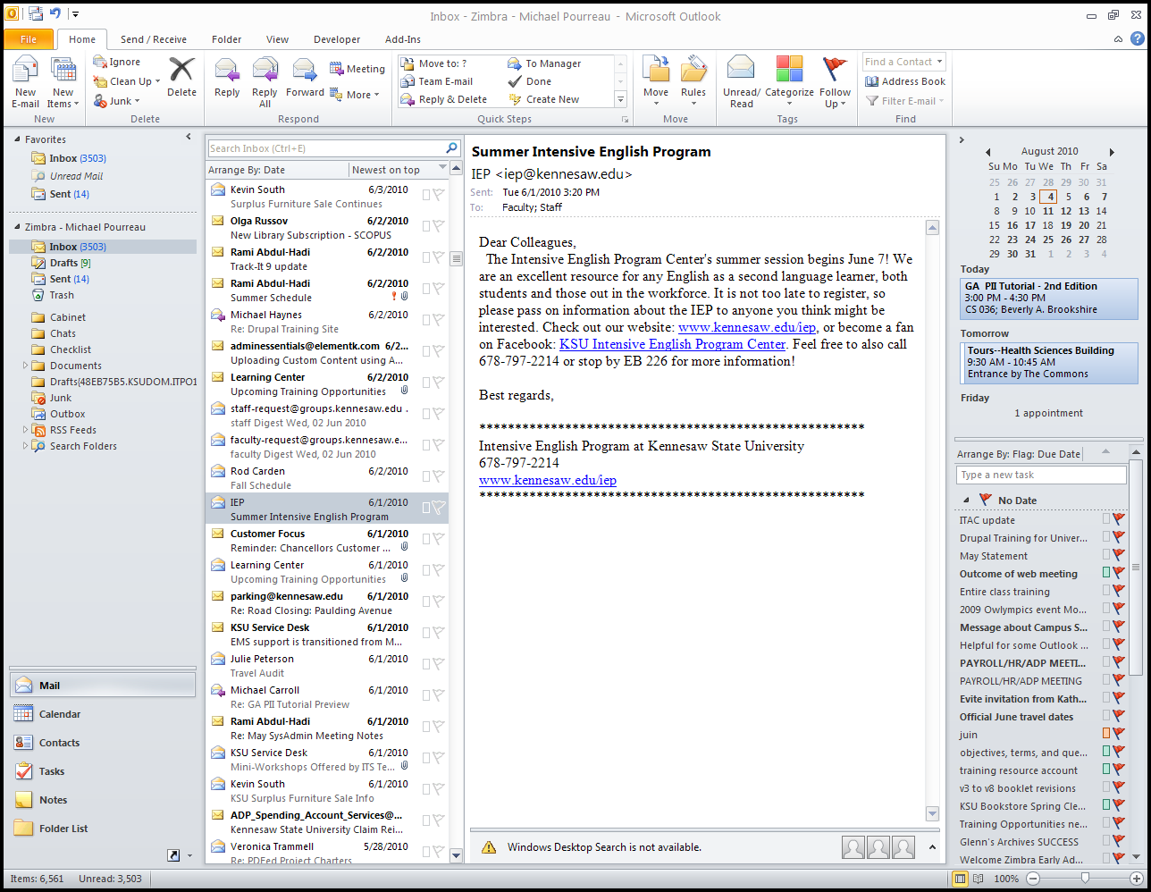Introduction Using Microsoft Outlook 2010 as a desktop client for Zimbra gives the end-user added functionality not available in Zimbra, due to the fact that the latter is a web-based application.