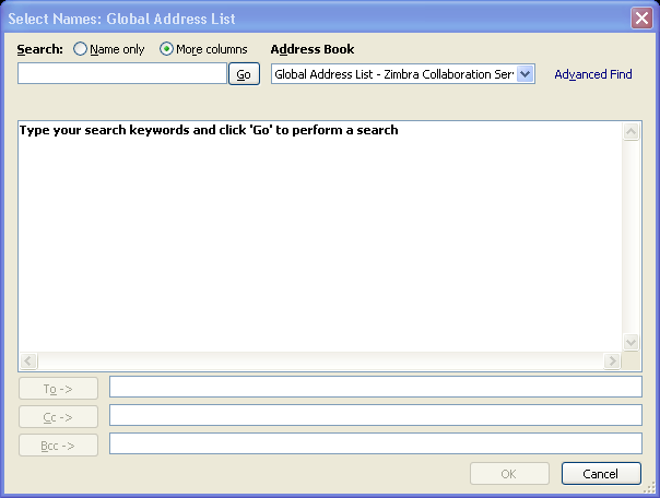 Figure 6 - Message Window 2. To select names from the Global Address List, click the To button. 3.