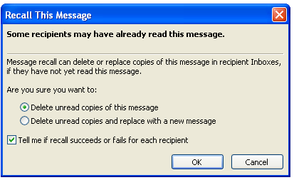 Figure 12 Actions 4. Choose to either Delete unread copies of this message or Delete unread copies and replace with a new message. 5.