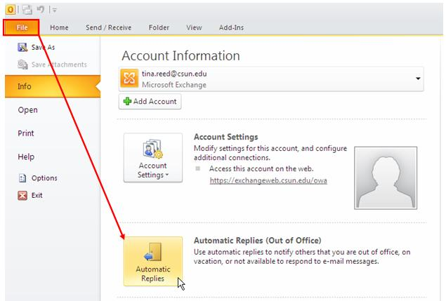 Figure14 File > Automatic Replies Option 2. In the Automatic Replies window, Do not send automatic replies is the default setting.