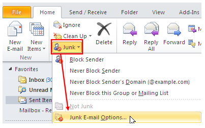 Accessing Junk Mail Options The Junk E-mail Options work in conjunction with other filtering features to prevent delivery of unwanted mail messages.