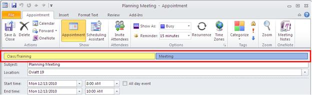 To assign categories to an existing appointment, right-click the item, select Categorize and