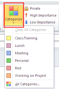 Figure 12 Categorize Options 3. The appointment reflects the number of categories selected.