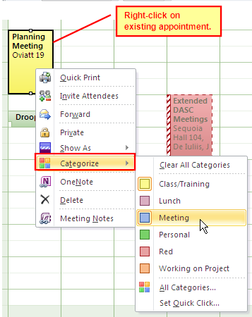 Figure 14 Changing an Existing Appointment Category Rename &Customize Predefined Categories 1. From the Calendar, select an item to apply a category for organizing. 2. Select the Categorize button. 3.