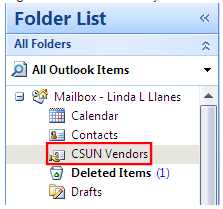 4. The Create New Folder window displays. Figure 6. Figure 6 Create New Folder Window 5. In the Name: field, enter a name for the new contact folder. 6. In the Folder contains: field select Contact Items.