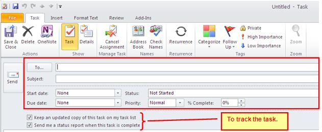 In the Navigation Pane select New Items. 2. Select Task Request (Figure 2) Figure 2 Task Request 3.