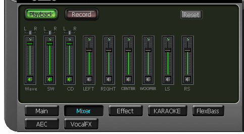 6.3 Mixer/Volume The mixer page is designed to control the volume for playback and recording on the Xonar DG.