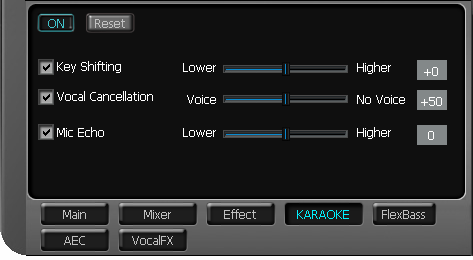 6.5 Karaoke The Xonar DG provides powerful features for Karaoke, including Key-Shifting, Vocal Cancellation, and Microphone Echo.