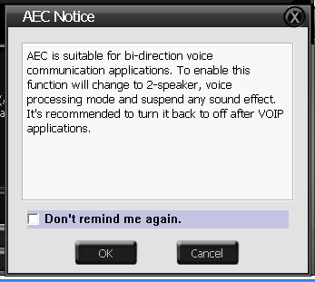2 No Item Description AEC Click AEC function page. 2 Enable AEC Click the checkbox to enable AEC function.