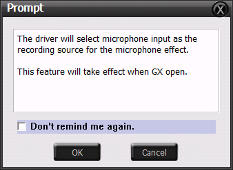 Click the checkbox to enable VocalFX function, then a prompt message will pop up: This message implies the record device will be set to microphone.