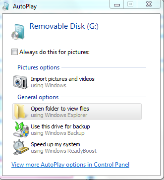 13 2.1.1.3 Disable AutoPlay AutoPlay feature enable Windows to pop up the default options when a removable drives like USB flash drive or CD ROM is inserted.
