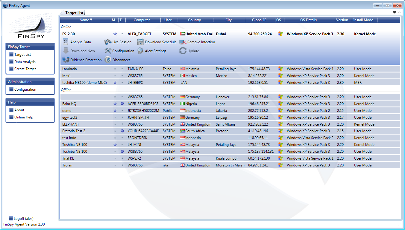 16 After a successful login the main interface will open. It shows the main interface of the FinSpy Agent.