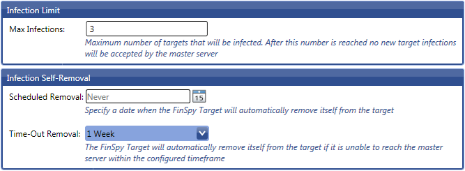 68 2.2.13.2 Network Configuration These settings are explained in chapter: Proxy Settings & Application Based Events. 2.2.13.3 Self-Removal Infection Limit specifies the number of FinSpy Targets which can be infected.