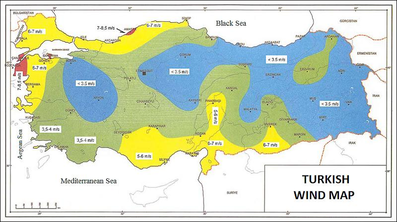 Wind Energy Potential in Turkey Above an Average of 100 m.