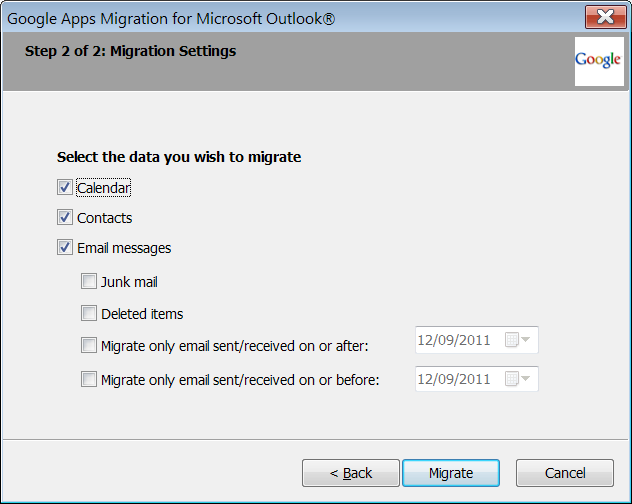12. Choose whether or not to migrate archived Calendar and Contact entries and specific portions of email.