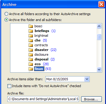 Figure 16: Archiving Messages The folder in which messages will be archived is set up in File Data File Management. You can change this value to be anything you want it to be.