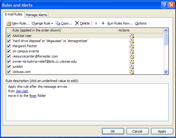 Figure 19: Message Rules for Automatically Handling Messages 4.