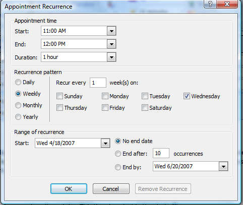 Figure 22: Meeting Recurrence 4. Click Save and Close to schedule the meeting.