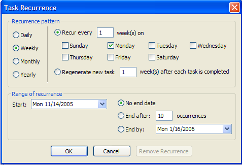 Figure 31: Task Recurrence Other Cool Features Notes & Journal Entries Like appointments and tasks, you can create sticky notes and/or journal entries which can be saved for yourself and/or sent to