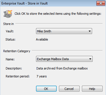 34 Storing and restoring items Storing your items manually To store items using an Enterprise Vault option on the Outlook ribbon 1 In your mailbox, select one or more items to store.