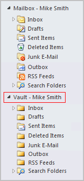 8 Introducing Symantec Enterprise Vault About Virtual Vault for Outlook users Figure 1-1 Example of a Virtual Vault The contents of the selected vault are shown in the Outlook Navigation Pane.
