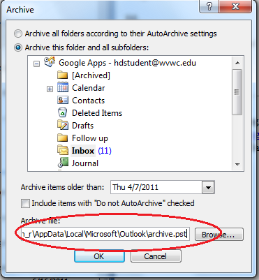 If you are not sure if you were using Outlook s archive feature, checking for the presence of an Archive.pst file will answer the question You can open your Archive.pst folder if it exists.