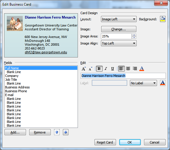 Creating Electronic Business Cards (EBCs) EBCs are very convenient, as people can easily save them to their Contacts list by right-clicking on them and choosing the Add to Outlook Contacts option.