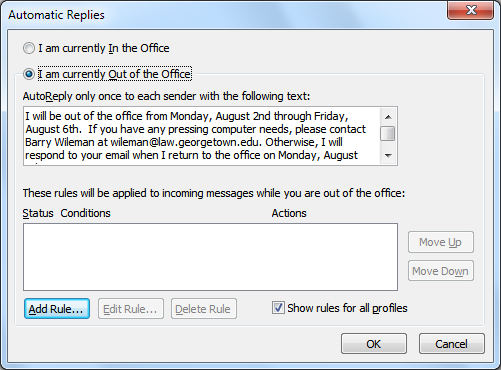 Organizing Messages Creating an Automatic Reply (Out of Office Message) 1. Open Outlook. 2. Click on the File tab and select the Info option. 3. The Account Information page will open. 4.