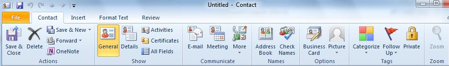 The Calendar window has its own ribbon, as do appointments. The same goes for the Contacts window and individual contacts or groups.