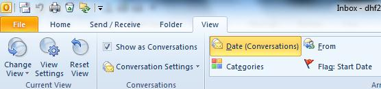 The Conversations View In Outlook 2010, emails can be organized by Conversation or email thread. A Conversation is the complete chain of email messages from the first message through all responses.