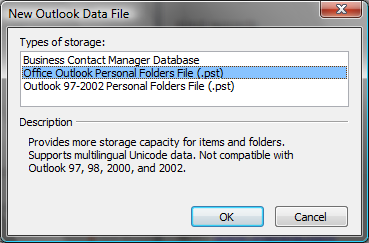 Manual archiving 1. Go to File New Outlook Data File. 2.