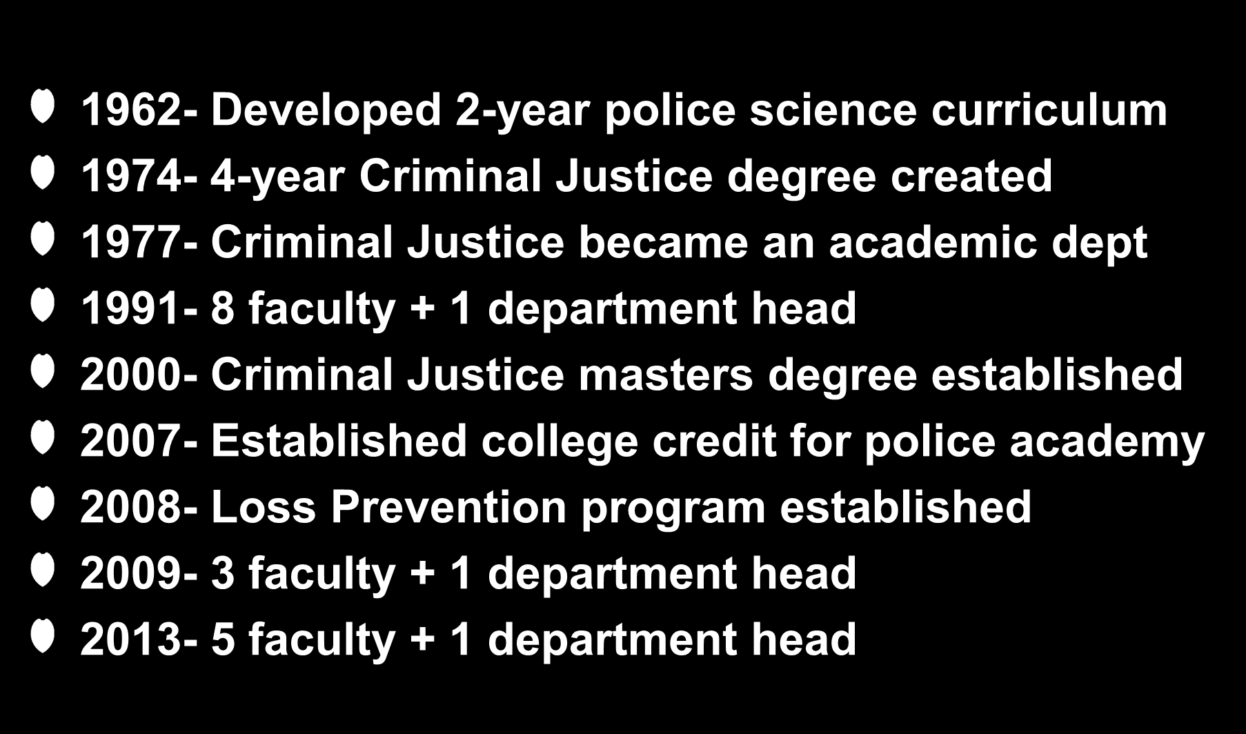 Criteria #2: History, Development and Expectations 1962- Developed 2-year police science curriculum 1974-4-year Criminal Justice degree created 1977- Criminal Justice became an academic dept 1991-8