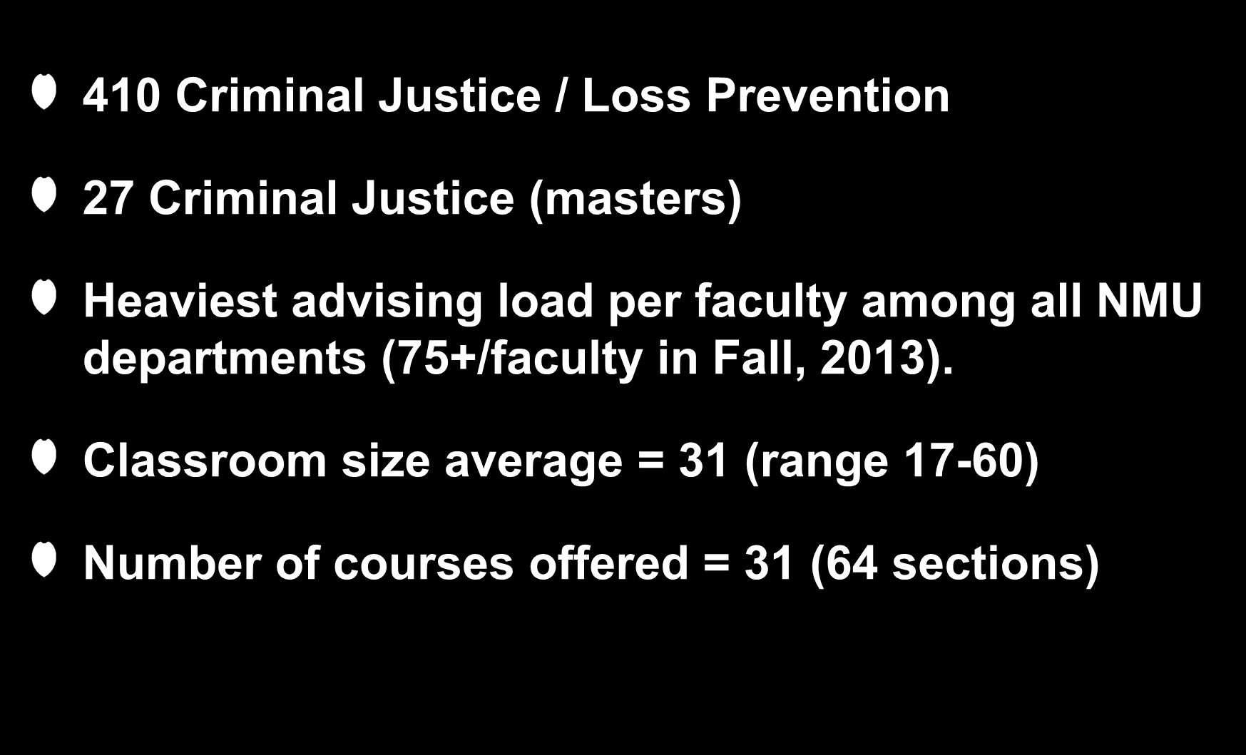 Criteria #7: Size, Scope and Productivity 410 Criminal Justice / Loss Prevention 27 Criminal Justice (masters) Heaviest advising load per