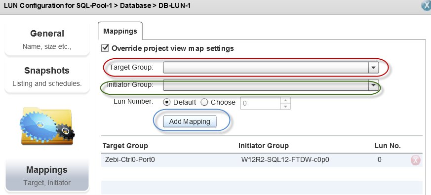 Select the Mappings section of the display. Here is where you may change the target or initiator groups, and doing this allows you to export the LUN.