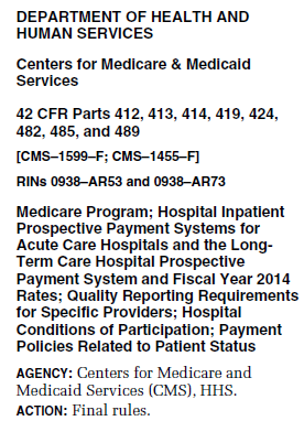Review of Final IPPS Rule for FY CMS-1599-F CMS-1455-F Posted to Federal Registry