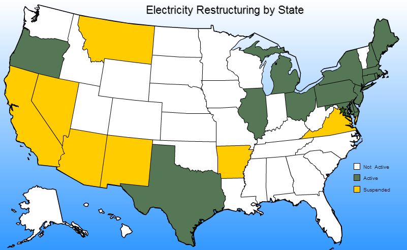 Figure 2: Map of Electricity Restructuring 19 The introduction of competition in electricity markets; along with the continued support of the FERC has led to the formation of Independent System