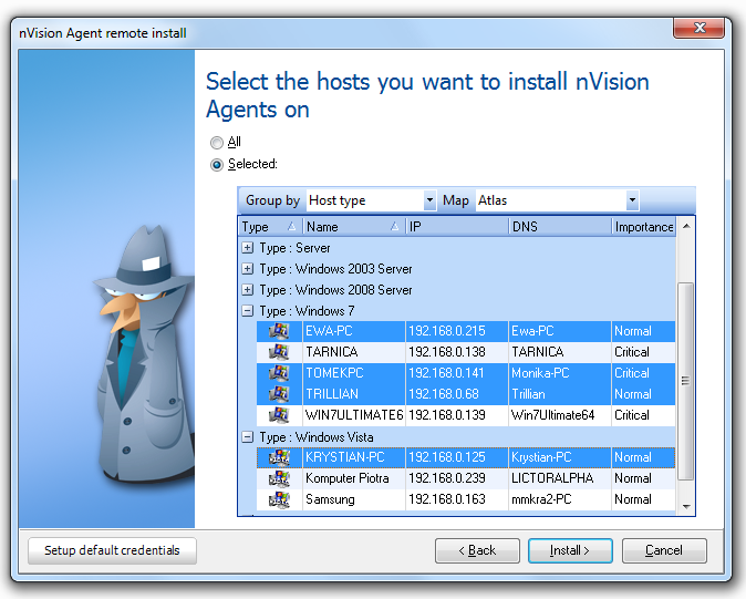 97 Axence nvision Help is the address of the machine where nvision is running. Click Next. 4. Select option All to install Agents on all machines or choose Selected.