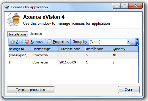 129 Axence nvision Help The Licenses tab allows the addition, deletion and editing of licenses for the given application.