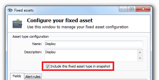 139 Axence nvision Help Individual types of fixed assets are compared during the audit, if they were saved in both snapshots being compared (i.e. the above-mentioned option was selected during the execution of both of these snapshots).