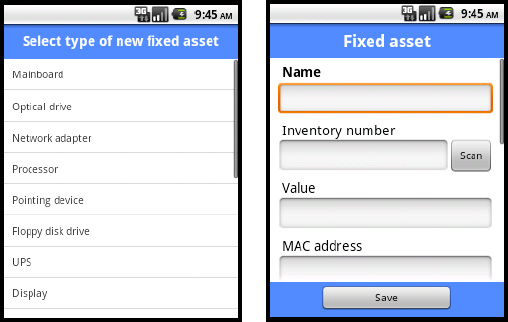 153 Axence nvision Help Main screen options 1. Create fixed asset creating a new fixed asset. First enter the type of fixed asset and then the other data in the fixed asset edit window.