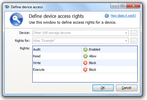 183 Axence nvision Help To block the ability to write and execute files on all USB devices (except for those for which the access rights were defined individually) for the entire atlas, i.e. for all workstations: 1.