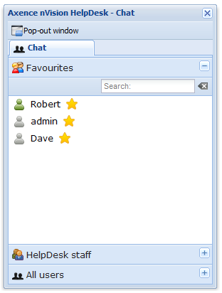 HelpDesk 206 10.3.4 Chat Using chat via the trouble ticket database Conversations can be performed between users, who are present in the list in the User window (see User management).
