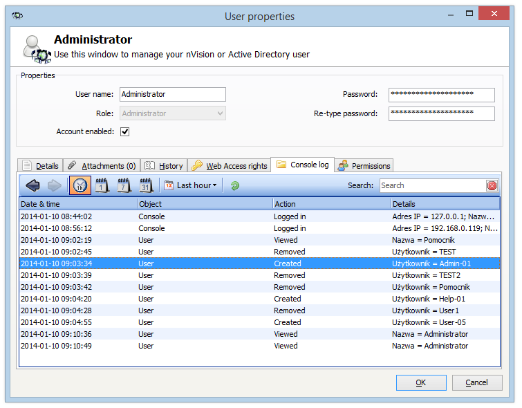 19 Axence nvision Help To display the Access Log for a specific Administrator, double click their name