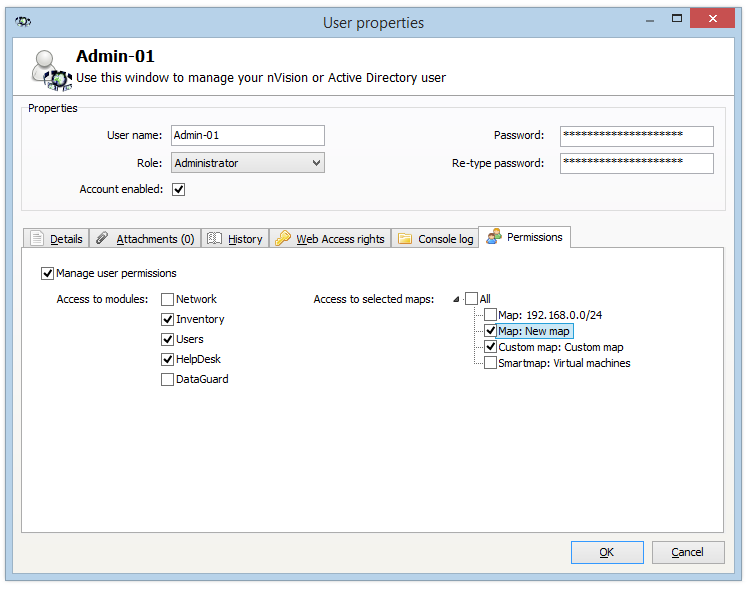 Introduction 1.8 20 Administrator permissions nvision enables the configuration of administrator rights.