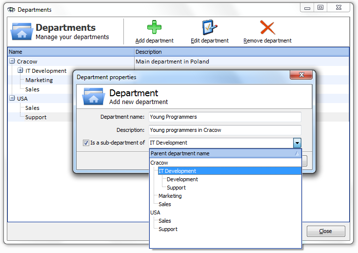 Atlases, maps and hosts 84 To create a department structure: 4.5.3 1. Select the option Tools Manage departments. The department window will open, displaying all the departments defined for the atlas.