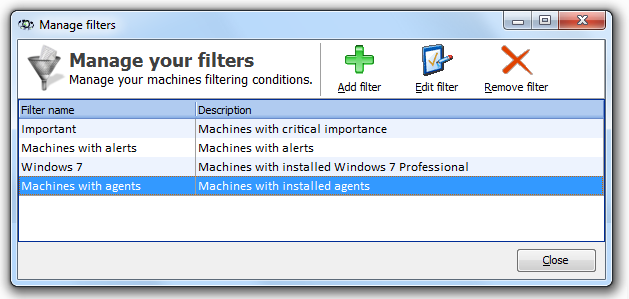 87 Axence nvision Help System 4.6.3 Creating filter To create a filter: 1. Select Tools Filters for smart maps. In the Filter management window click the button. Add filter 2.