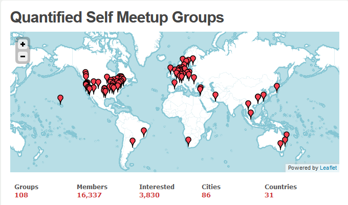 What is Quantified Self? 5 Figure 2 depicts the distribution of all these Meetup groups around the globe.