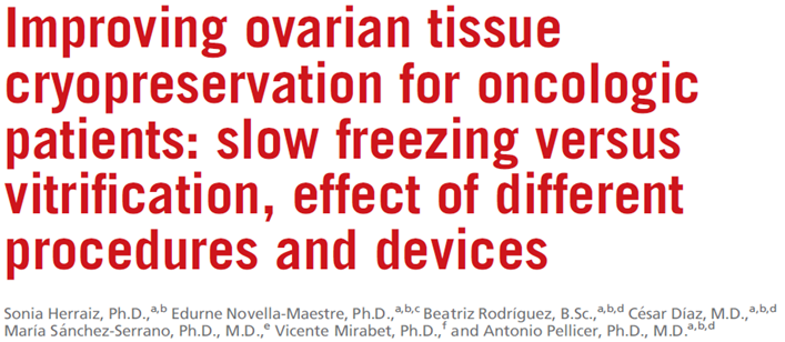 Crypreservation and transplantation of ovarian tissue Conclusion: VT offers similar conditions to fresh tissue for follicular density proliferation, viability,
