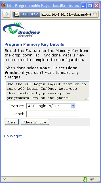 Figure 9: ACD Agent Log In/Out Directories The phone system has two directories: the Internal Directory and the