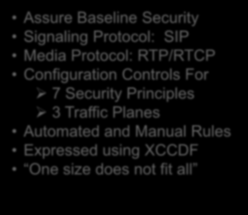 Assure Baseline Security Signaling Protocol: SIP Media Protocol: RTP/RTCP Configuration Controls For 7 Security Principles 3